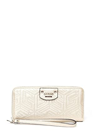 2536ef1b61 Guess G Cube Quilted Large Zip Around Wallet (Gold) at Amazon ...