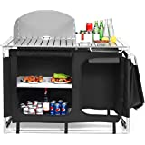 Huippy Portable Camp Kitchen and Sink Table, Camping Grill Table w/Windscreen & Storage Organizer, Outdoor Kitchen Cook Stati