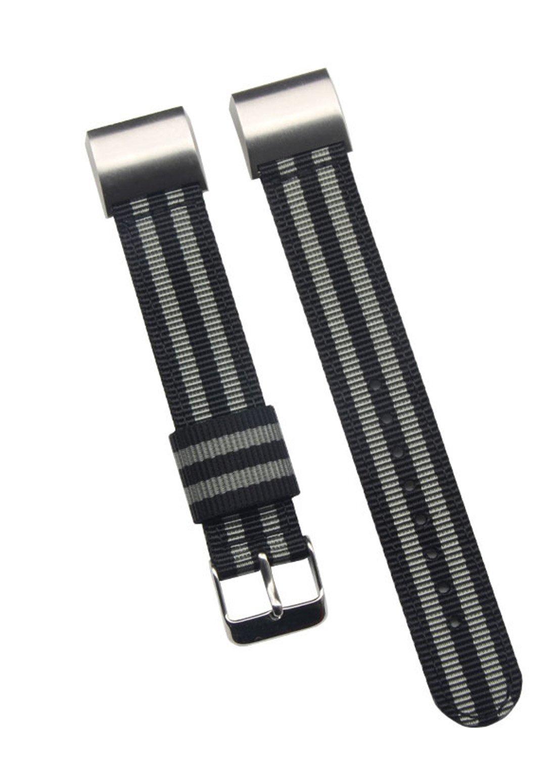最高級 メンズバリスティックナイロン 時計バンド Fitbit Charge 2スマートウォッチの交換用 18mm ブラック/グレー ブラック/グレー ブラック/グレー B0747LHZW5