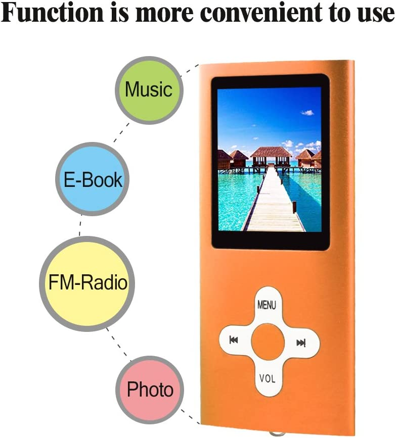 RHDTShop MP3 MP4 Player with a 16 GB Micro SD Card Ultra Slim 1.7 LCD Screen-Red Support UP to 64GB TF Card Rechargeable Battery Portable Digital Music Player//Video//E-Book Reader