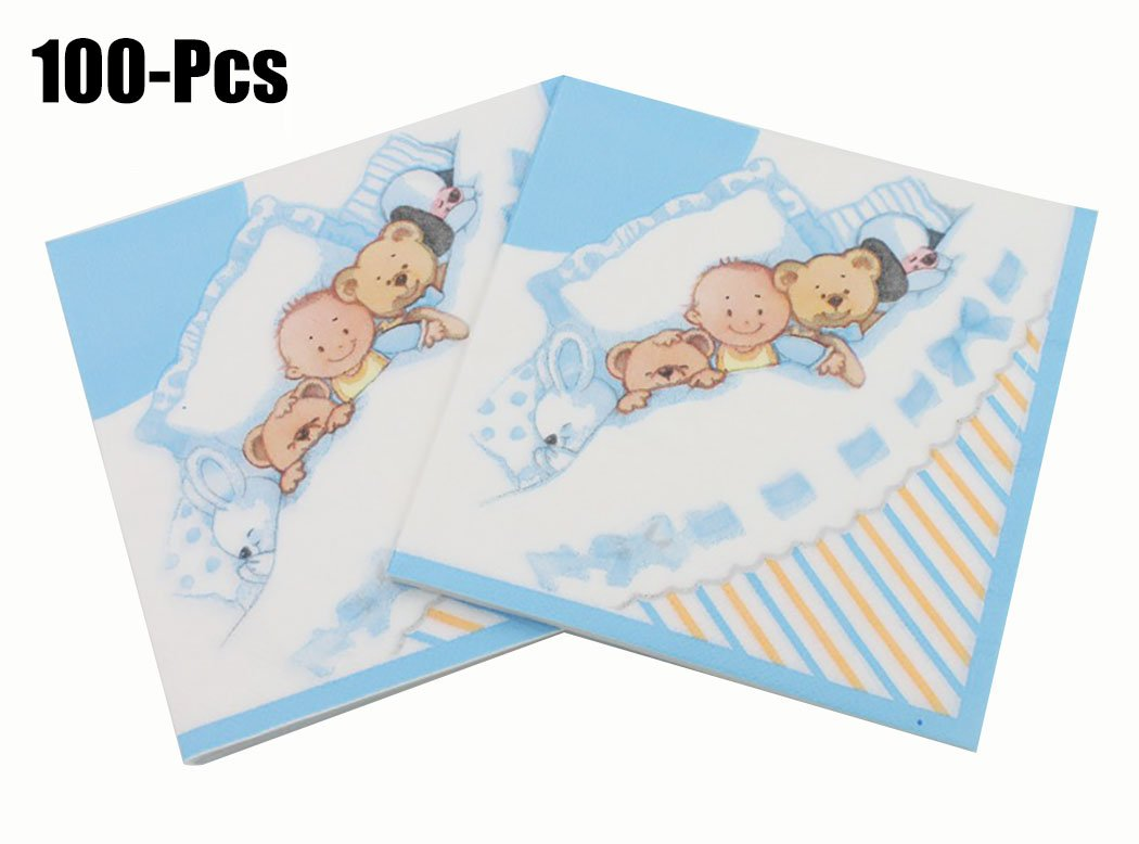 Coxeer 100PCS Cute Napkin Paper Napkin Cartoon Bear Printed Napkin for Birthday Baby Shower Party by Coxeer (Image #1)