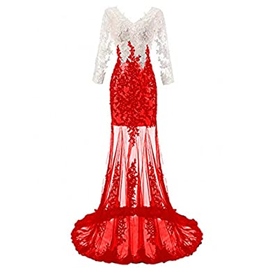 Chady V-Neck Sequins White and Red Lace Mermaid Prom Dresses 2018 Long Sleeves Backless