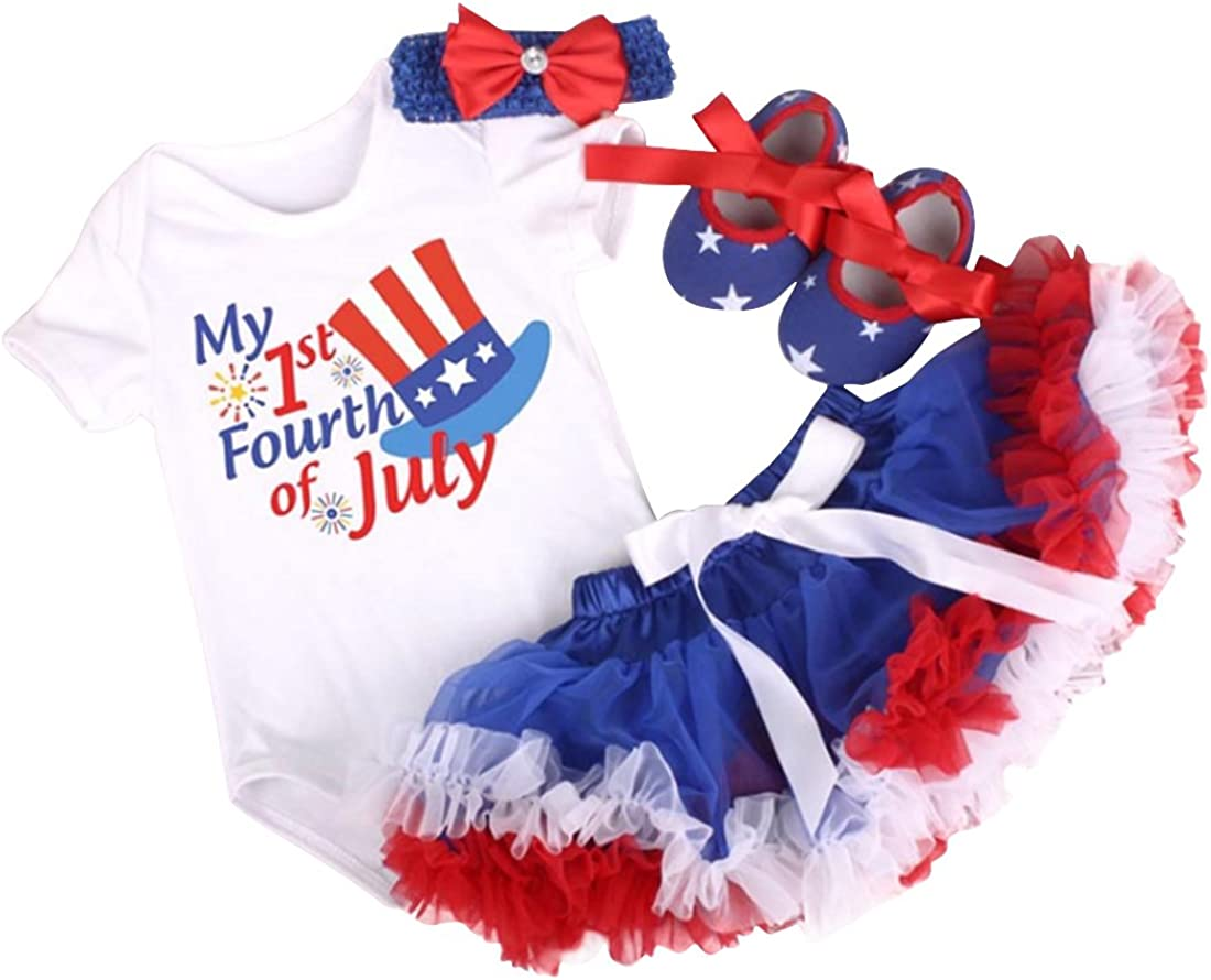 WINZIK 4th of July Baby Girl 3Pcs Tutu Bodysuit Romper Dress Outfit Clothing Set Independence Day Garment Party Costume