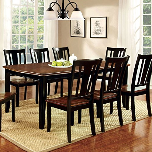 247SHOPATHOME Idf-3326BC-T-7PC Dining-Room, 7-Piece Set, Black and (7 Piece Cherry Brown Counter)