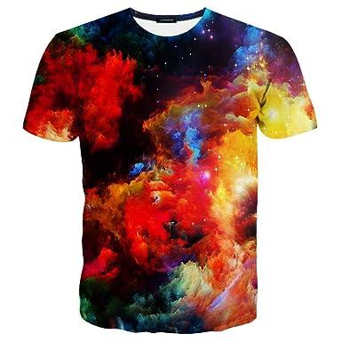 LAIDIPAS Unisex 3D Muster Gedruckt Farbige Stein Kurze Hülse T-Shirts S