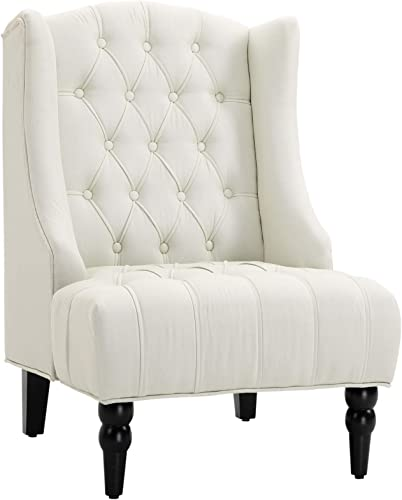 HOMCOM Linen Fabric Button Tufted Tall Wingback Accent Chair
