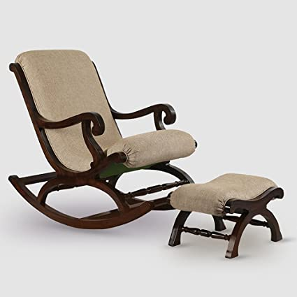 Exclusivelane Teak Wood Rocking Chair With Foot Rest Amazon In