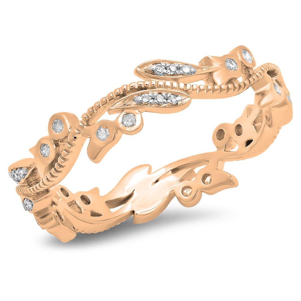 0.20 Carat (ctw) 14K Rose Gold Round Diamond Wedding Eternity Stackable Ring 1/5 CT (Size 7.5)