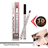 RAPIDBROW Tattoo Eyebrow Pen with Four Tips Long-lasting Waterproof Brow Gel for Eyes Makeup (A Chestnut))