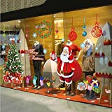 LAPOND Merry Christmas Tree Santa Claus Print Wall Decals Removable Mural Wall Stickers for Christmas Shop Room Decor