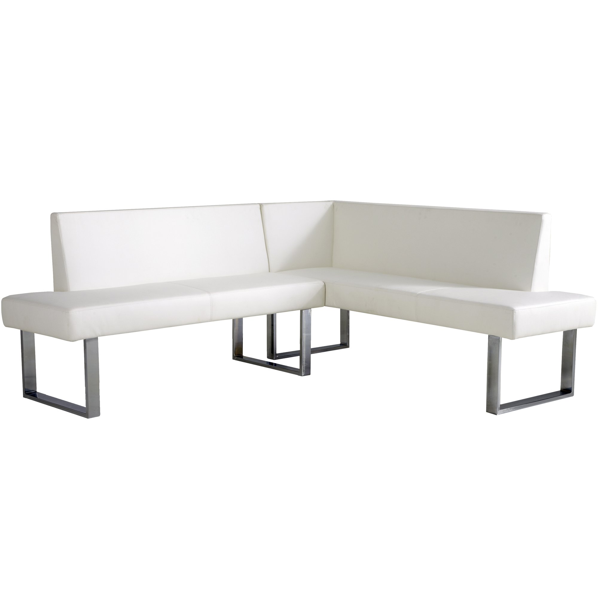 Armen Living Amanda Sectional in White and Chrome Finish by Armen Living