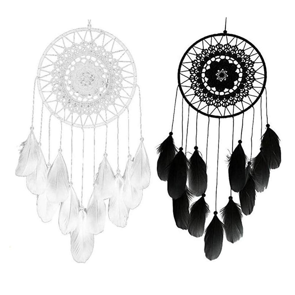 Dream Catcher, White And Black 2 PCS Natural Handmade Dreamcatcher Decor Wedding Feather For Kids Gift Wall Hanging Decoration(1Pcs White+ 1Pcs Black)