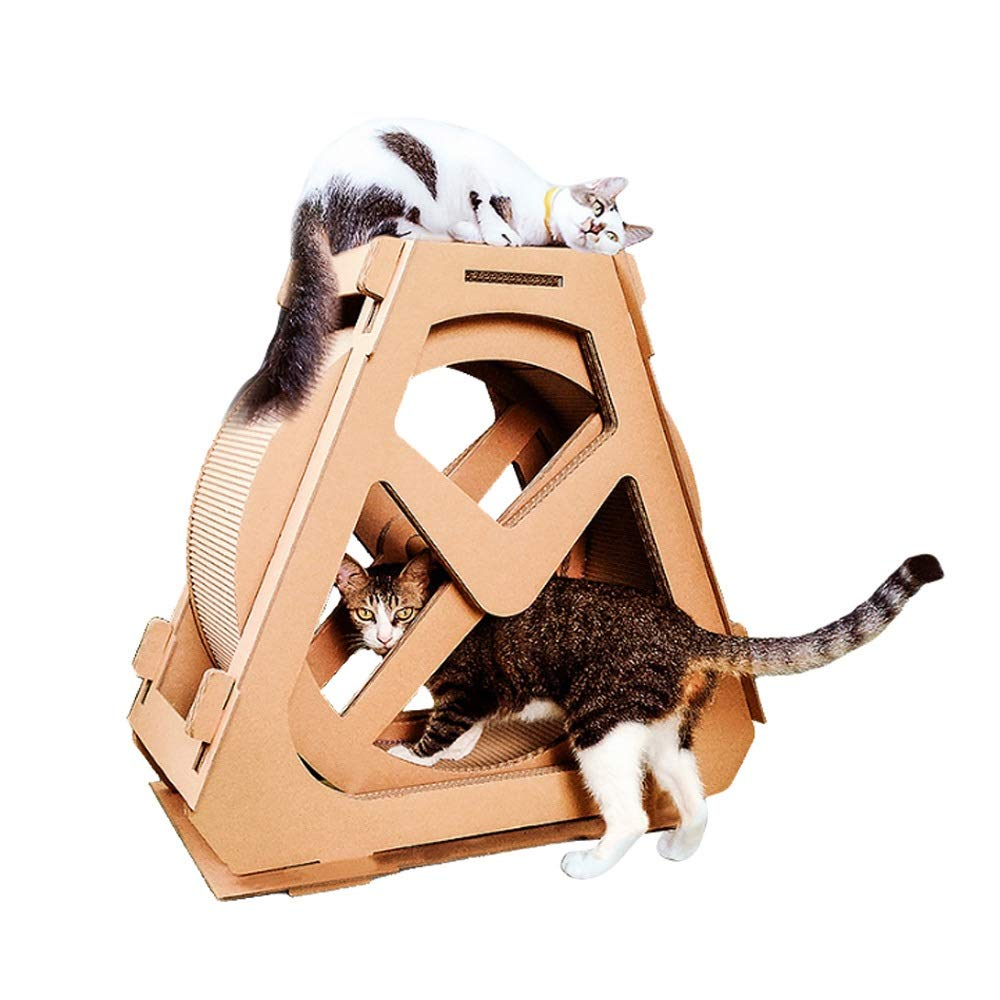 Medium Corrugated waterwheel Ferris Wheel cat Scratch Board cat Climbing Frame Toy cat Litter Creative Wheel pet Supplies (Size   M)