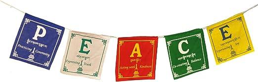 Inglés paz tibetano oración banderas, viento caballo, 5 banderas por rollo, 5