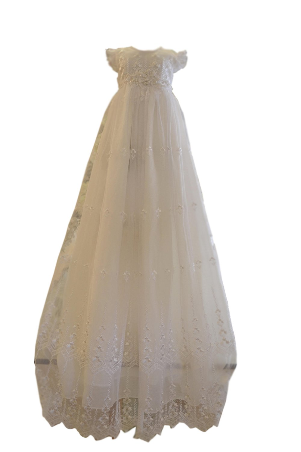 New Deve Newdeve White Round Neckline Puff Sleeves Embroidery Beaded Tulle Satin Baby Christening Gowns (Whitw, Customize)