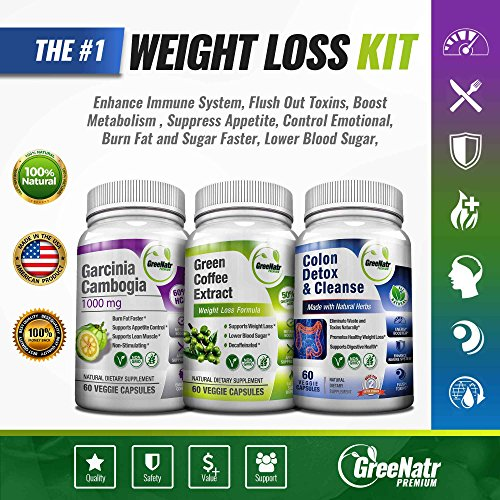 Weight Loss Trio - Green Coffee Bean w/ 50% Chlorogenic Acid + Garcinia Cambogia Extract & Colon Detox | 14 Day Diet Plan & Cleanser - Appetite Suppressant, Sugar & Fat Burner, Carb Blocker -180 Pills by GreeNatr (Image #7)