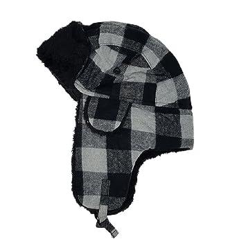 335b7e8b65c1aa Delano Unisex Winter Buffalo Plaid Trooper Trapper Hat Russian Hunting Ski  Faux Fur Cap,Black