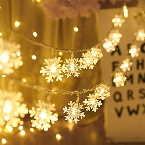 Christmas Lights, Snowflake String Lights 19.6 ft 40 LED Fairy Lights Battery Operated Waterproof for Xmas Garden Patio Bedroom Party Decor Indoor Outdoor Celebration Lighting Warm Color
