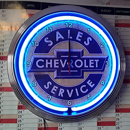 NEON Clock Aged Chevrolet Sales Service Badge Sign WALLCLOCK Shining with Blue NEON Rim!-Working with Silent Movement!