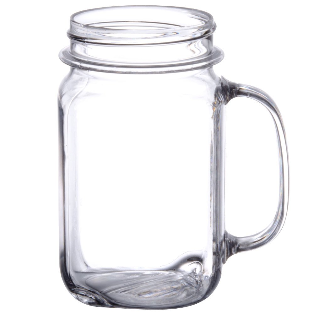 GET MAS-3 CL 16 oz. Clear Polycarbonate Mason Drinking Jar with Handle - 24/Case by GET SW (Image #2)