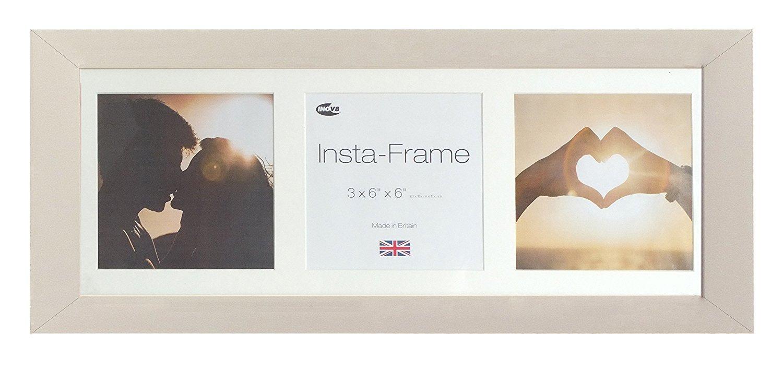 Inov8 - Cornice portafoto Insta-Frame, 53 x 20 cm, per 3 Foto quadrate, con passepartout e Inserto Bianco, Colore: Grigio Chiaro PFIS-SOGR-I3WH