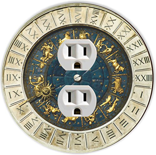 Rikki Knight RND-OUTLET-97 Zodiac Clock at San Marco Square in Venice Round Single Outlet Plate (San Marcos Outlets)