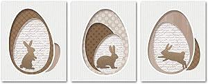 SUMGAR Farmhouse Brown Hares Wall Art Prints Unframed Rabbit Eggs Paper Photos Set of 3,8x10 inch