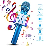 Wireless Karaoke Microphone, 4 in 1 Bluetooth Handheld Portable Speaker Home KTV Player with Dancing LED Lights Record Funct