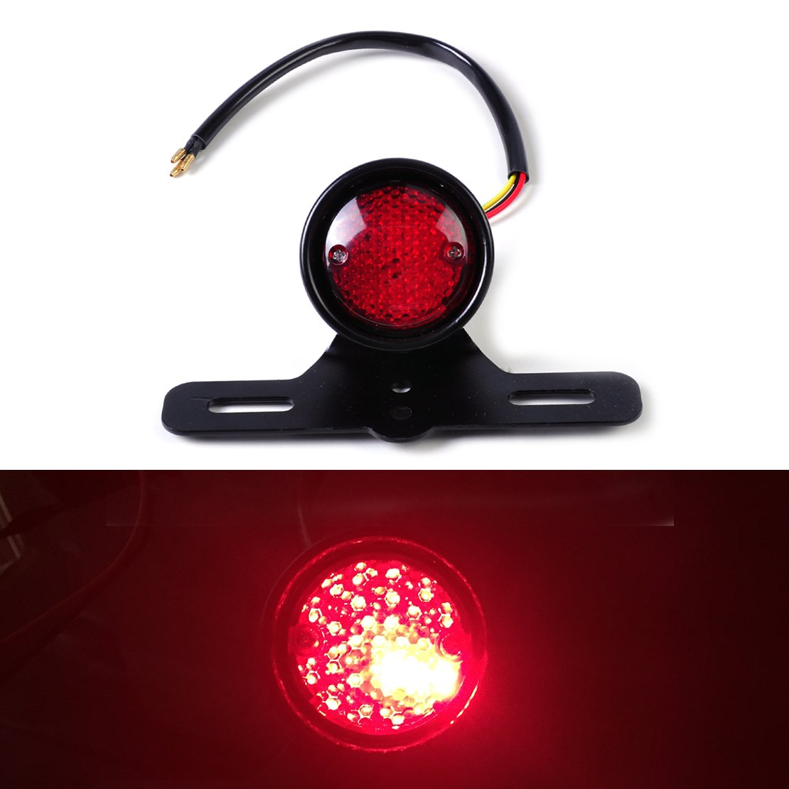 Eastar Motorcycle LED Retro Red Rear Tail Brake Stop Light Lamp w//License Plate Mount fit for Harley Chopper Bobber