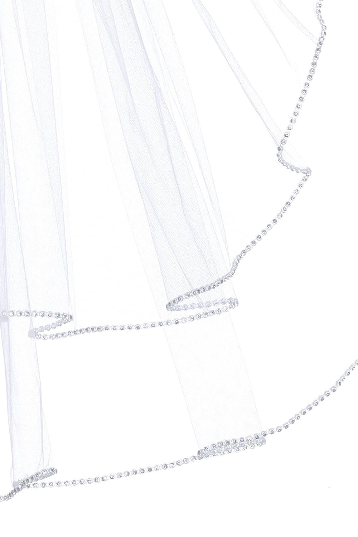 2T 2 Tier Rhinestones Crystal Edge Veil Fingertip Length 36 SAMKY-FBA-V341