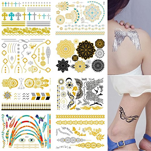 Body Art Sticker (Fashion Temporary Tattoos 8 Sheets Removable Waterproof Instant Temporary Fake Jewelry Tattoos,Body Art Sticker,Wrist & Arm Bands,Metallic Gold,Silver & Color)