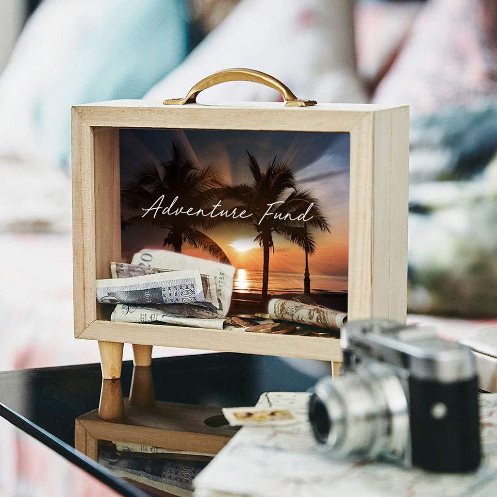 Nikita By Niki /® Tropical Adventure Travel Money Savings Box Fund Wooden Piggy Bank for Adults