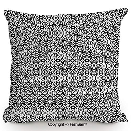 - FashSam Home Super Soft Throw Pillow Old Antique Kitchen Decor Floor Tiles Inspired Royal Star and Flower Like Image for Sofa Couch or Bed(16
