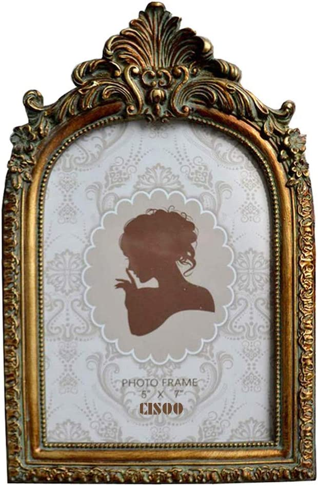 CISOO Vintage Picture Frame 5x7 Antique Photo Frame Table Top Display and Wall Hanging Home Decor, Bronze