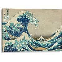 Cuadro decorativo de canvas (lienzo), La gran ola - Katsushika Hokusai - Arte famoso & Playas y mares, montado en bastidor de madera de 4.5 cm de profundidad (estilo galería). Tamaños adicionales disponibles. Perfecto para decorar casa u oficina, y especial para Sala & Dormitorio & Baño & Oficina. 100% Garantizado.