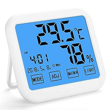 GuDoQi Higrómetro Termómetro Medidor de Humedad Digital Monitor con Reloj Despertador Smart Pantalla Táctil De Alta Definición con Mesa De Pie y Pared ...
