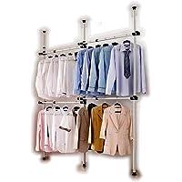 Perchero de interior portátil herramientas libres de perchas de ropa armario 3 DIY postes 4 bares. Postes de acero…