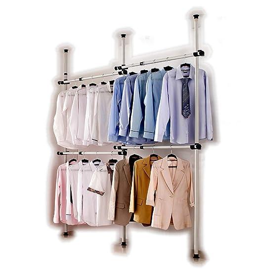 Perchero de interior portátil herramientas libres de perchas de ropa armario 3 DIY postes 4 bares. Postes de acero inoxidable resistente y barras. 60 ...