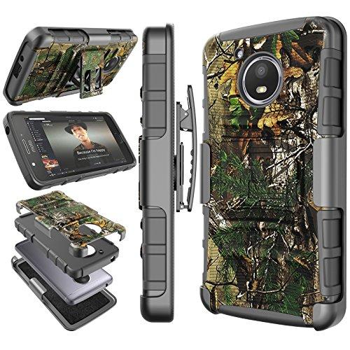 Moto E4 Case, 2017 Motorola Moto E 4th Generation Holster Clip, Tekcoo [Hoplite] Shock Absorbing [Tree] Swivel Locking Belt Defender Full Body Kickstand Carrying Tank Camouflage Armor Cases Cover