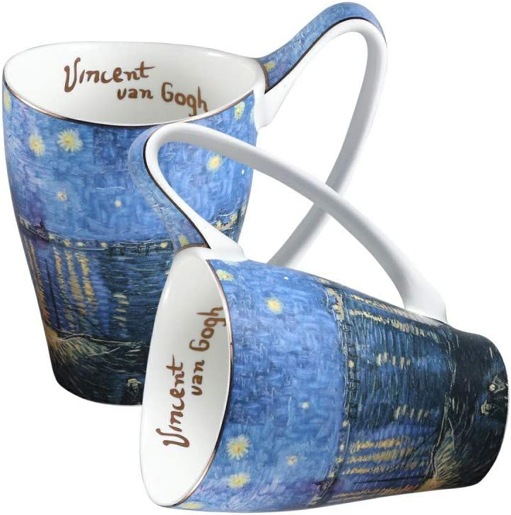 Ceramic Mug Funny Cup, Milk Cup Tea or coffee Cups ceramic 16 oz Mugs for Kitchen, Stylish Art van gogh cups porcelain(Starry Night Over the Rhone Pattern)