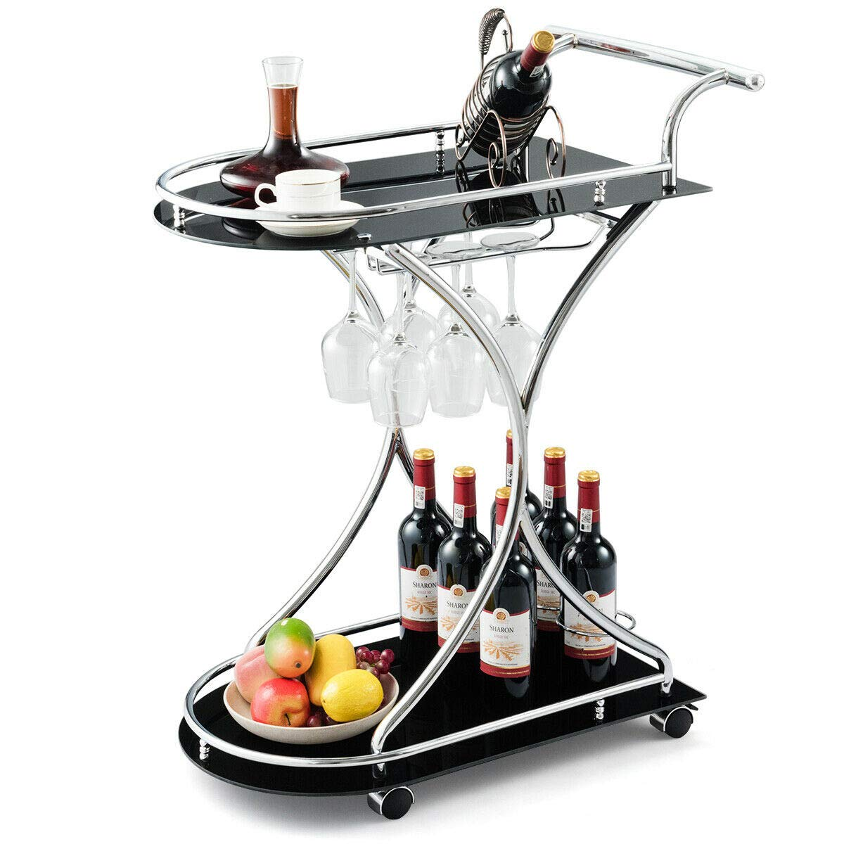 Tangkula Rolling Bar Cart, Glass Serving Cart with Metal Frame and 2 Tempered Glass Shelves, Tea/Wine Serving Bar Cart with 4 Wheels, Ideal for Kitchen, Hotel or Restaurant (Slver & Black) by Tangkula
