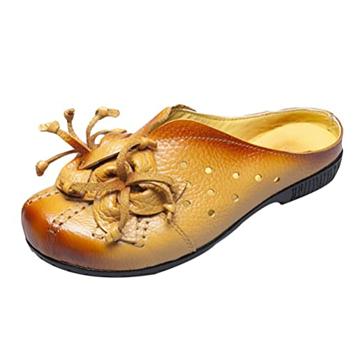 Mordenmiss Women's New Leather Flower Slippers Beach Sandals (US 4.5//CH 35,