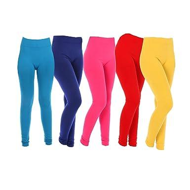 6c9910a9b7e Aashish Fabrics Women s Multicolor Plus Size Cotton Lycra Churidar Leggings  (RED-YW-PNK