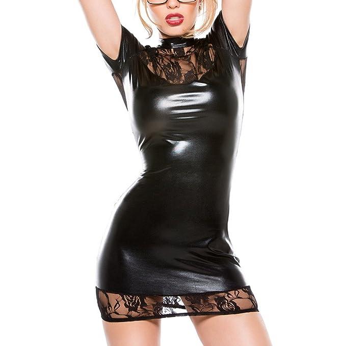 7252f77e33 WUDUBE Donna in Ecopelle Effetto Bagnato Vestito Traslucido Backless Mini  Abito Tuta Biancheria Intima Clubwear: Amazon.it: Abbigliamento