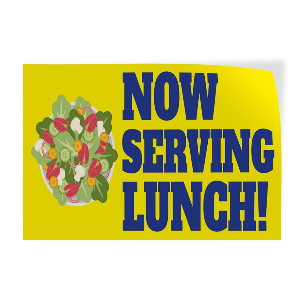 14inx10in Set of 10 #4 Business Healthy Meal Outdoor Store Sign Blue Decal Sticker Multiple Sizes Now Serving Lunch