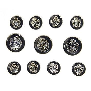 Amazon.com: Juego de botones de metal azul plateado para ...