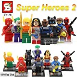 Super Heroes 2 8 Piece size 1.8 inches 4.5 cm The Avengers Deadpool Joker Catwoman Assemble Figures Building Block No orignial box new in sealed bag