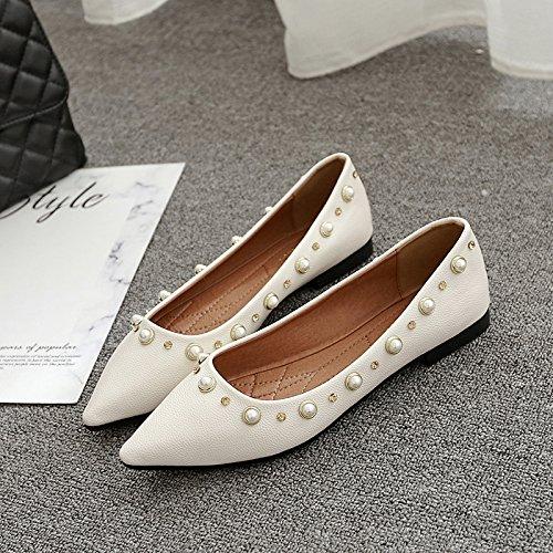 Xue Xue Xue Qiqi Court Schuhe Flacher Schuh der Flachen Schuhe Flach mit Einzelnen Schuhen Frauen mit Niedrigen ledernen Wilden Schuhen Flach Aprikose 74258b