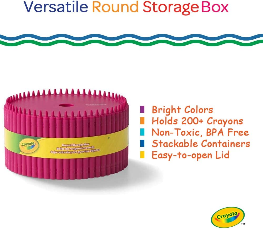 Crayons And Other Craft Supplies Creative Kids Art Storage Container With Lid For Storing Pens Kids 3+ Years Dandelion Crayola Round Storage Box Pencils