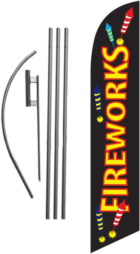 Amazon Com Fireworks Sale 4th Of July Advertising Feather Banner Swooper Flag Sign With Flag Pole Kit And Ground Stake Garden Outdoor